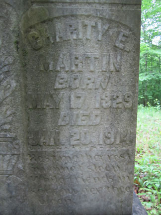 Charity Elizabeth McAnally Martin's headstone closeup