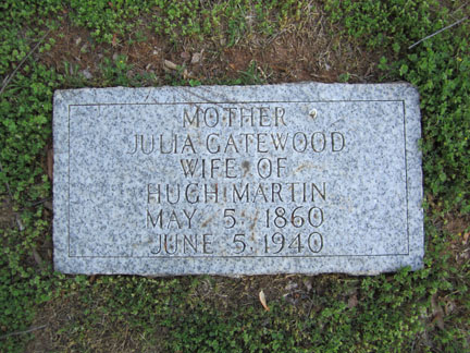 Julia Gatewood's headstone