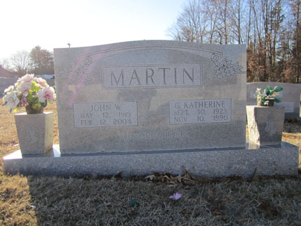 John William Martin and Geneva Katherine White Martin's gravestone.