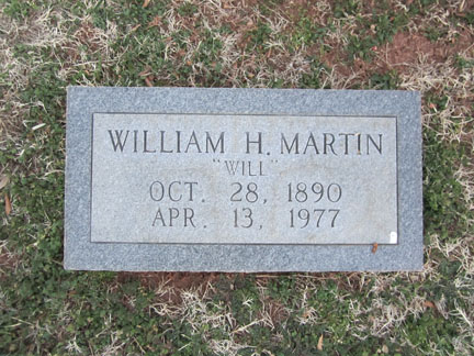 William Henry Martin's headstone.